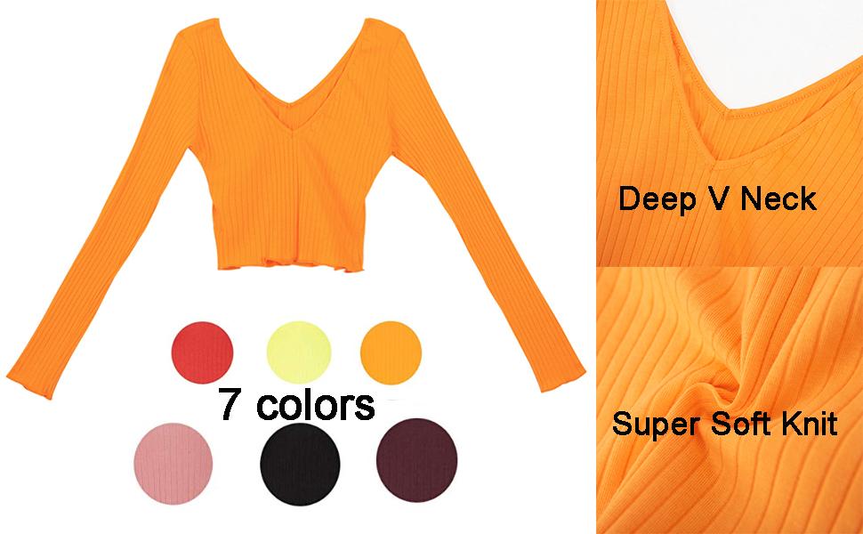 Womens Long Sleeve Sexy Off Shoulder Crop Top Tee Shirts knit crop top V neck shirt