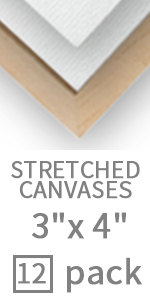 3x4 inch small stretched canvas easel set 12 pack