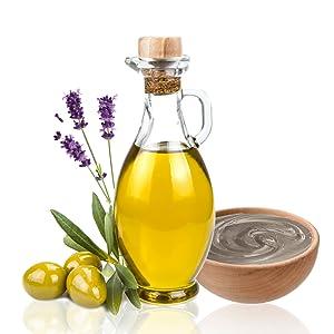 olive oil, dead sea mud, lavender