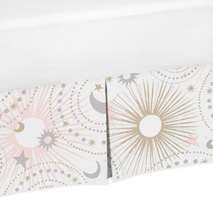 Pink, Gold, Grey and White Star and Moon Baby Girl Pleated Crib Bed Skirt Dust Ruffle for Celestial