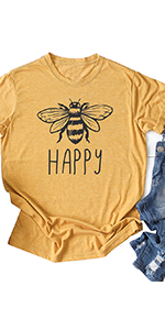 Women Happy Bee Letters Printed Round Neck Short Sleeve Casual T-Shirt