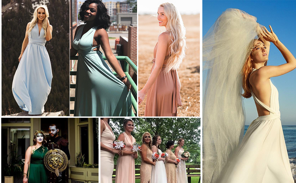 Womens Teen Girls Long Wedding Bridesmaid Dress One Shoulder Multi-Way Strap Convertible Wrap Dress