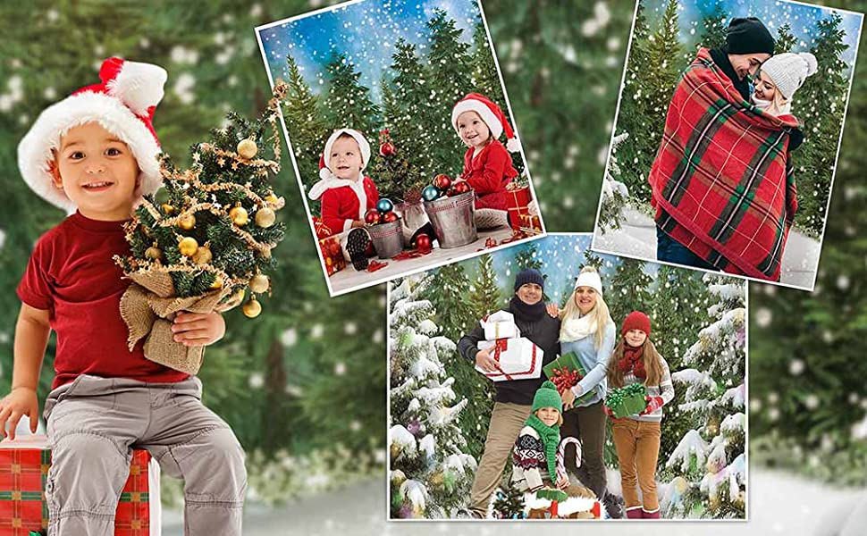 Funnytree 7x5FT Winter Forest Photography Backdrop Snowy Christmas Pine Tree Background
