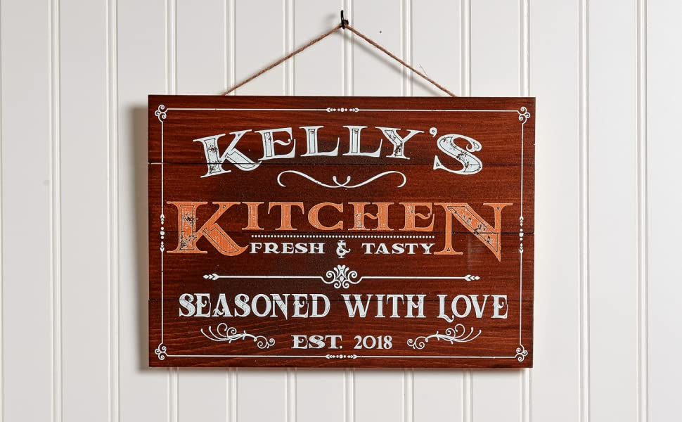 Personalized farmhouse kitchen decor wall art for kitchen Family Signs Housewarming Gifts