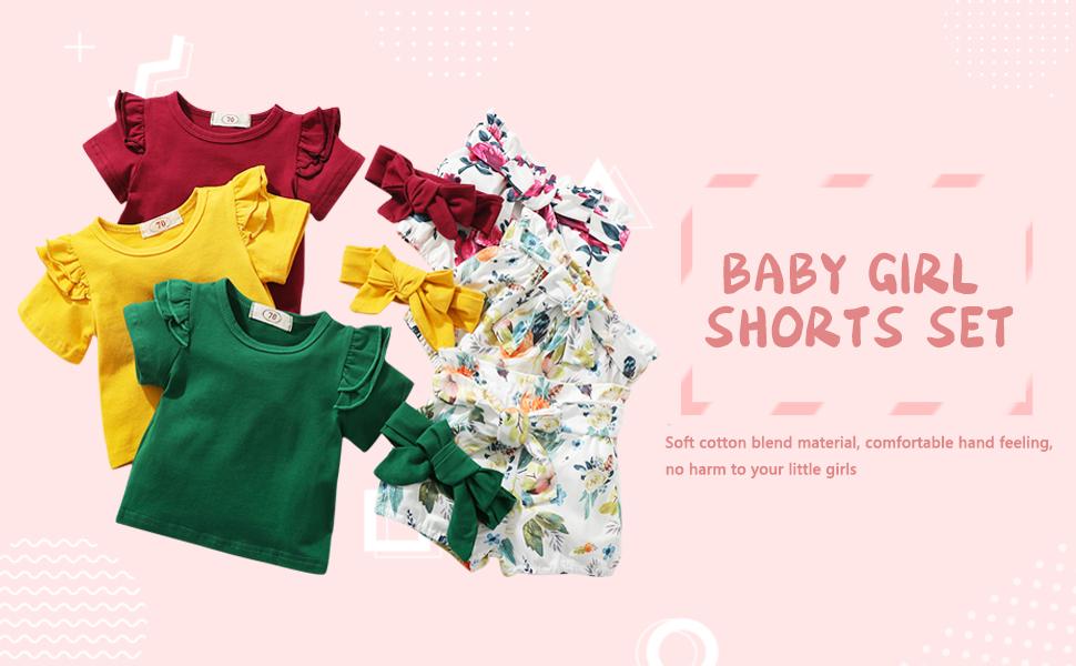 Infant Baby Girl Summer Knit Outfit Button Halter Ruffle Top+Drawstring Shorts+Headband 3Pcs Ribbed Clothes Set
