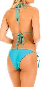 zeraca Women's Strap Side Bottom Halter Racerback Bikini Bathing Suits CUPSHE HIGH CUT SCRUNCH CHEEK