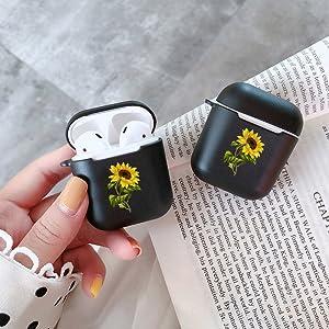 Black Flower Airpods Case