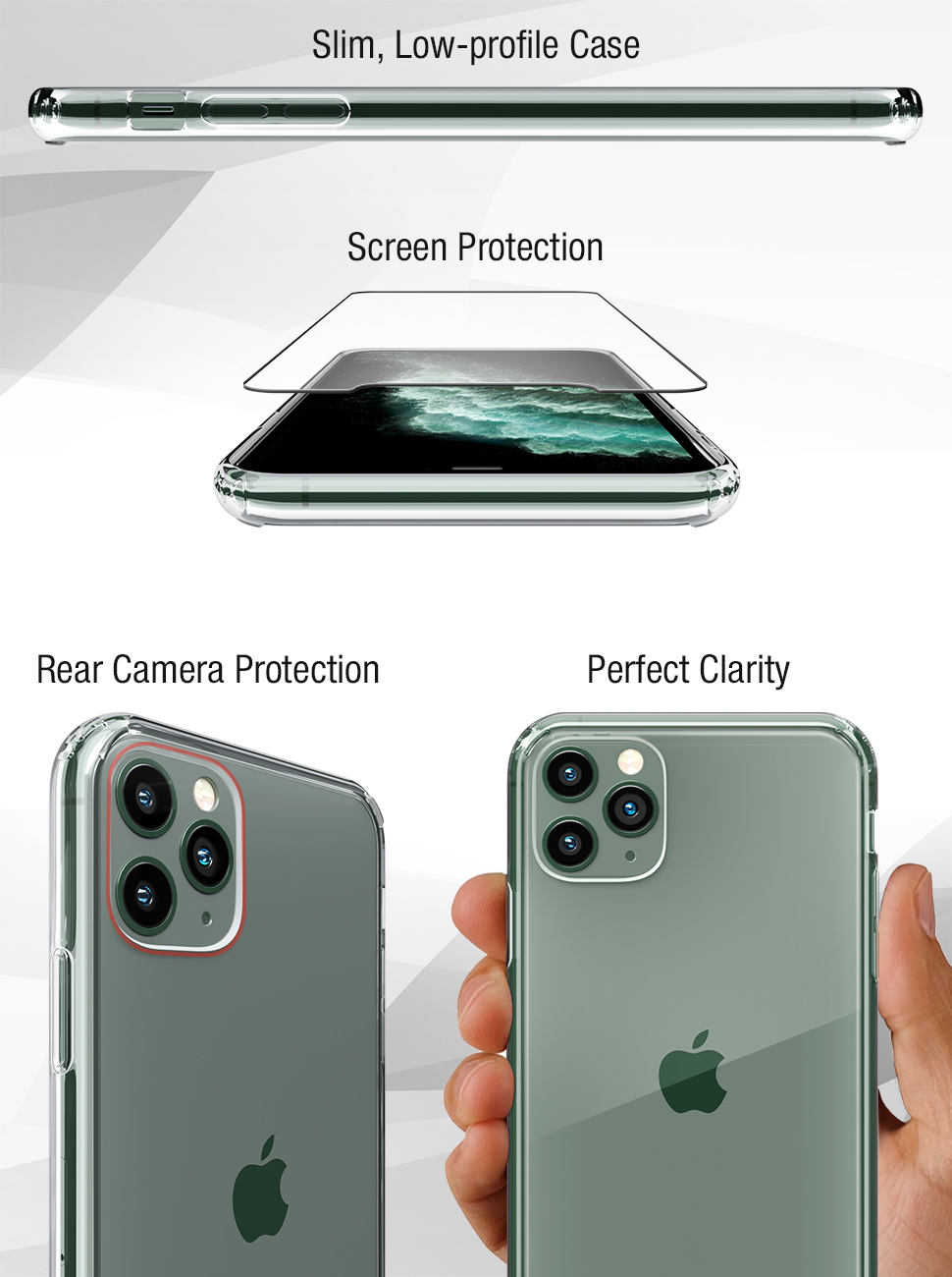 FlexGear Clear Case for iPhone 11 Pro MAX and 2 Glass Screen Protectors (Clear)…