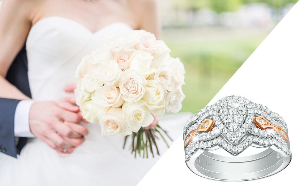 wuziwen jewellery wedding engagement ring set for women 925 sterling silver cubic zirconia cz gift