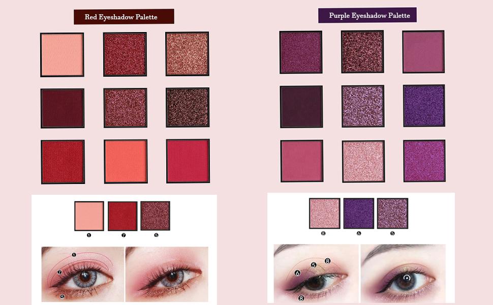 9 colors glitter eyeshadow palette