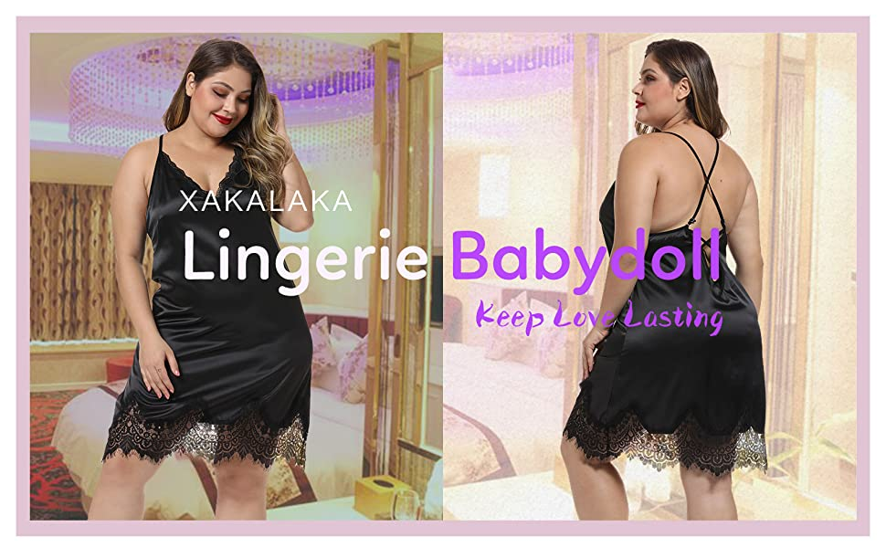 XAKALAKA Women Plus Size Satin Chemise Babydoll Lace Trim Lingerie Full Slips Nightgown