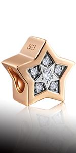 925 Sterling Silver Rose Gold Bright Star Charms fits Pandora Women Bracelet