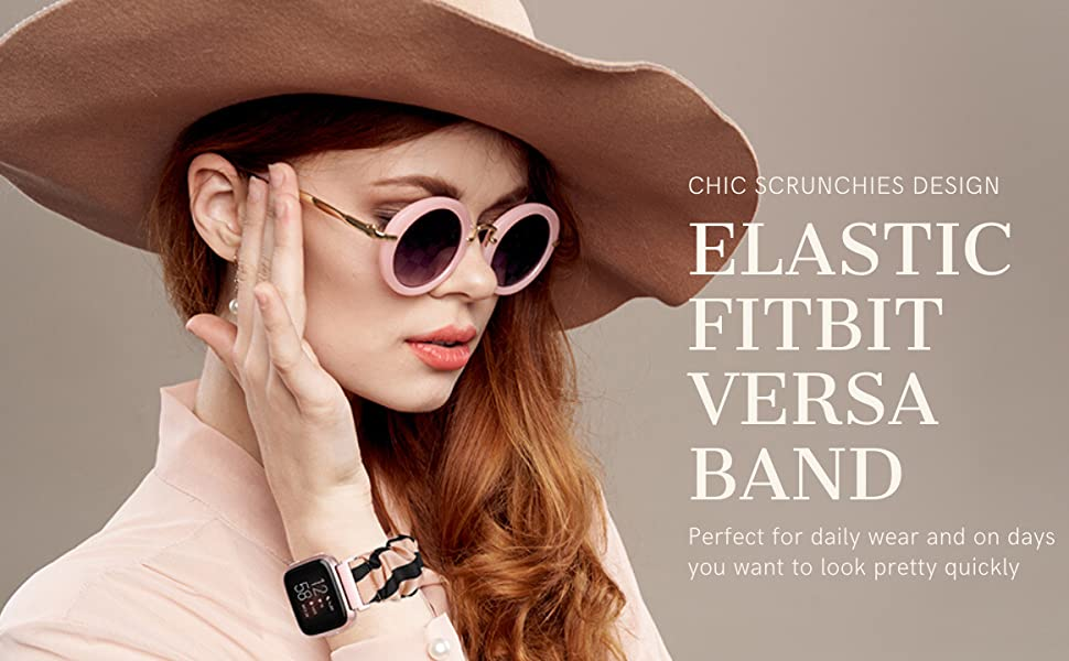 TOYOUTHS Elastic Fabric Bands Fitbit Versa 2 Lite Special Edition for Women Girls Canvas Cloth Strap