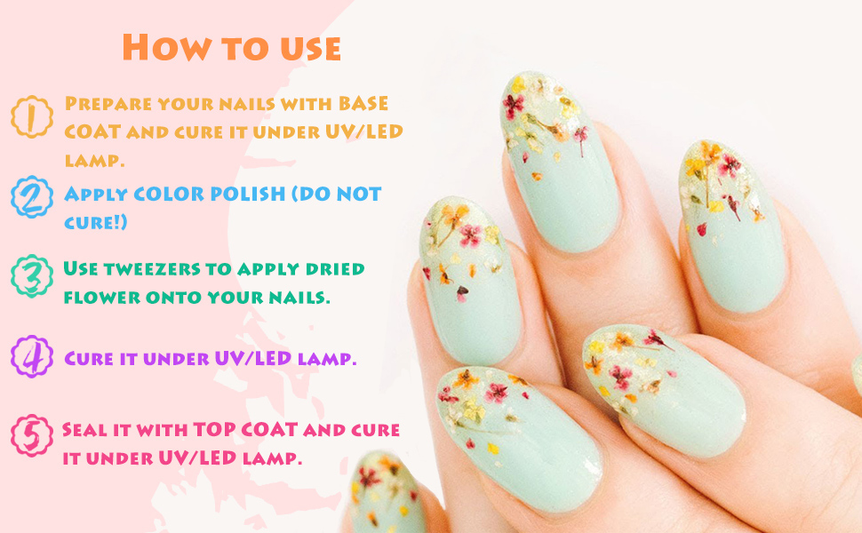 nail art dried flowers how to use