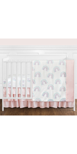 Pastel Rainbow Baby Girl Nursery Crib Bedding Set without Bumper - 4 pieces