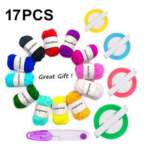 1 SET ( 4 Size Ball Bobble Weaver Needle ) Pompom Maker + 12Pcs Acrylic Yarn + 1PC Scissors