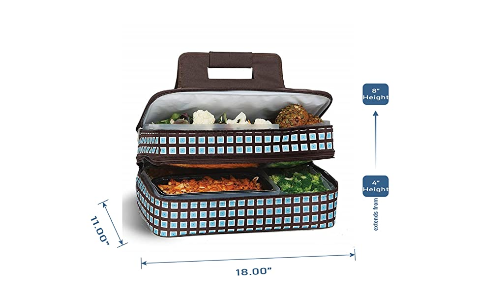 picnic plus, hot cold food carrier, potluck food carrier, double layer insulated food bag