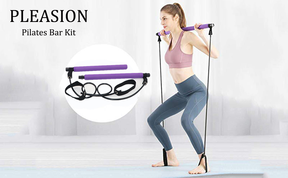 PLEASION Pilates Exercise Resistance Band Yoga Pilates Bar Reformer Kit Portable