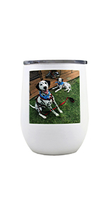 customized white stainless steel wine tumbler customized with photo on the side