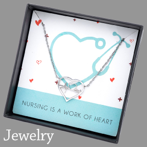 necklace for nurse jewelry silver heart