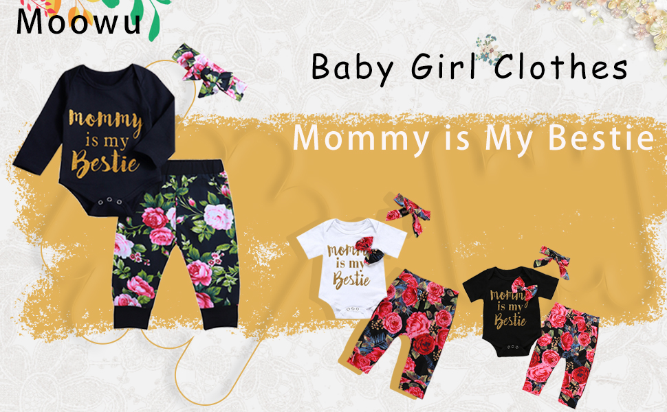 Infant Baby Girl Clothes Mommy is My Bestie Black Long Sleeve Romper +Floral Pants with Headband