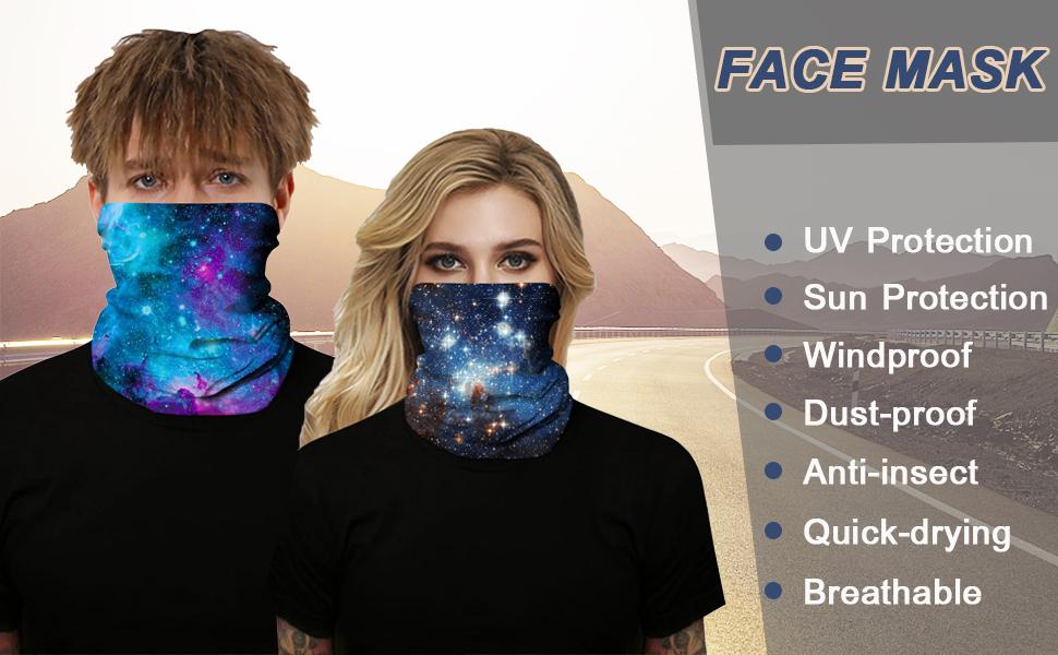 Seamless Rave Face Mask Bandana Magic Scarf Neck Gaiter Tube Headwear Windproof Face Cover Balaclava