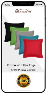 Cotton Raw Edge Throw Pillow Covers
