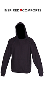 Chemotherapy Port Access Pullover Hoodie Black