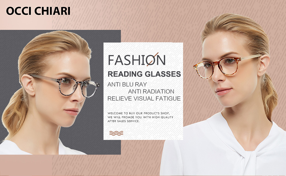 main picture show 2 models wear fashion reading glasses anti blue light reader