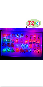 72 Pack Christmas LED Ring Light Up Party Favor Toy Christmas Flashing Rings