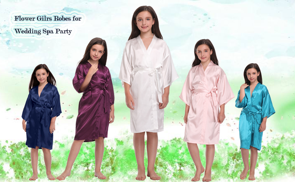 DF-deals Girls Satin Kimono Robes with Gold Glitter for Flower Girl Wedding Party Getting Ready Robe