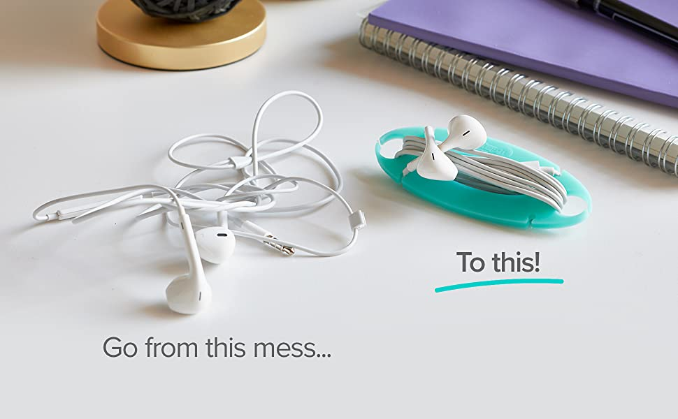 go from this tangled mess to this set of organized earbuds wrapped up in tangle-free cord wrap