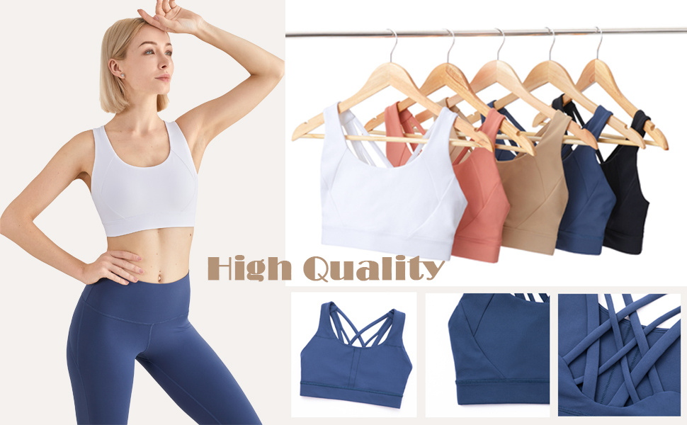 Strappy Sports Bra for Women Yoga Crop Top Workout Fitness Running Gym Activewear For Girls