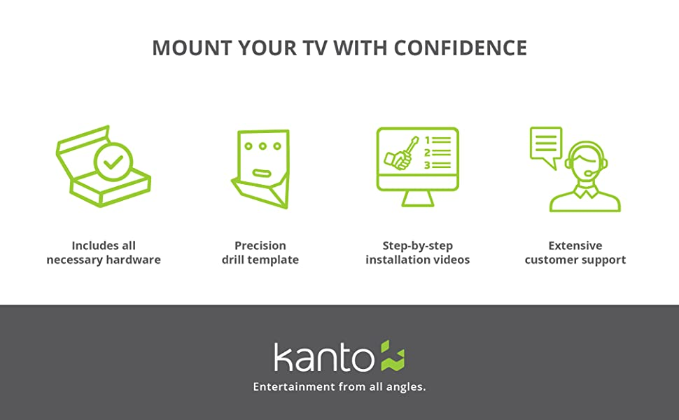 mount your tv with confidence with all mounting hardware and customer support