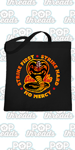 Cobra Kai Karate Kid Merchandise Retro No Mercy Large Canvas Tote Bag Women