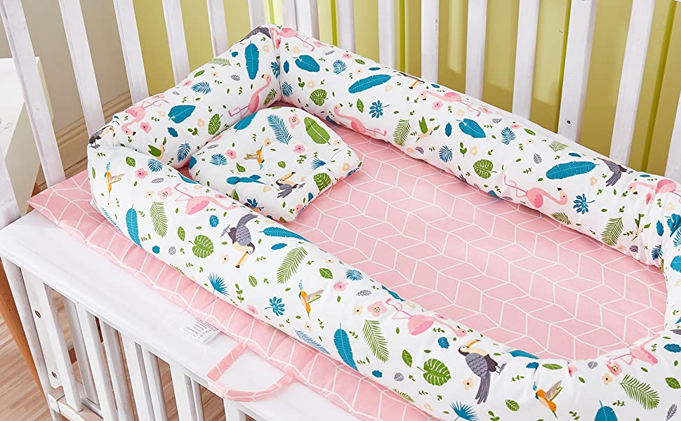 brandream pink feather flamingo baby bassinet bed newborn lounger