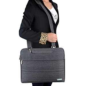 Laptop Bag 15.6 Inch - for Women,PU Leather Canvas Shoulder Messenger Laptop Tote Bag Briefcase