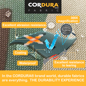 made of 1000D CORDURA fabric heavy duty durable versatile rugged water repellent tough and burly