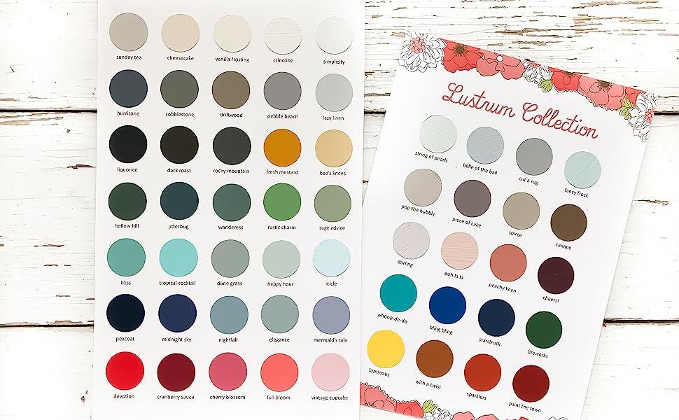 color chart paint colors furniture chalk clay diy home decor refurbish
