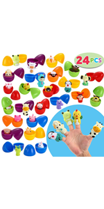 24 PC Prefilled Easter Eggs Filled with Animal Finger Puppet