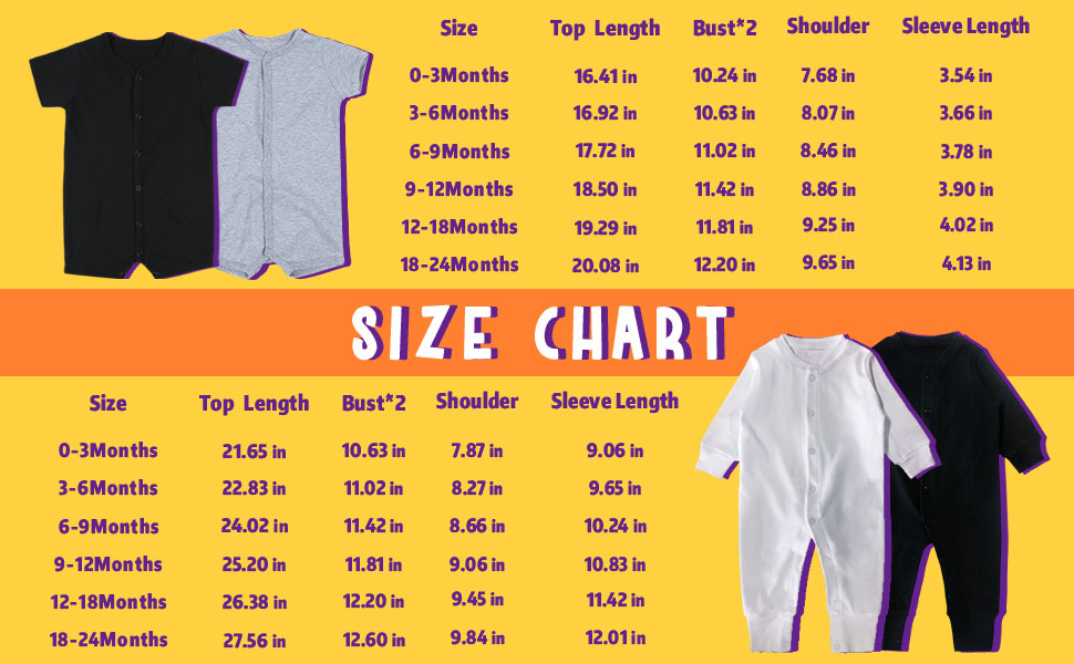 Baby romper size chart