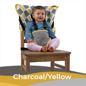 Cozy Baby Easy Seat Portable High Chair - Charcoal/Yellow