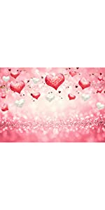 Valentine's Day Backdrops Pink Love Heart Glitter Sequin Bokeh Photography Background 5x3ft
