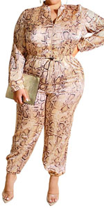 Plus Size Snakeskin Printed Jumpsuit for Sexy Women