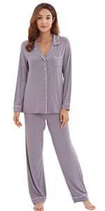 Womens Bamboo Long Sleeve Pajama Set Soft Sleepwear