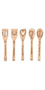 flower pattern wooden spoons