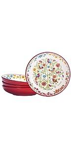 red spring bird dinner bowl set