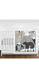 Beige, Grey and White Boho Mountain Animal Gray Woodland Forest Friends Nursery Crib Bedding