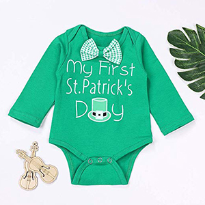My First St.Patrick's Day Newborn Infant Baby Boy Girl Clothes Cute Bow Tie Romper Green Plaid Pants