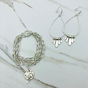 Silver plated Dangle Earrings & Charm chain bracelet